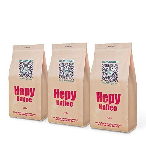 Dr. Wunder Hepy-Einlaufkaffee 3er-Pack | 3 x 300g: Grüner/Goldener Bio-Detox-Kaffee speziell für den Kaffee-Einlauf zur Leberreinigung || besonders hoher Gehalt an Koffein und Palmitinsäure