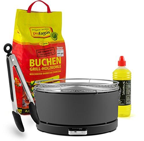 Mayon Feuerdesign Holzkohle Tischgrill, GRAU, inkl. 2,5kg Grillkohle und 1L Brennpaste