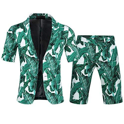 Allthemen Herren Sommer Anzug Kurze Hose Hawaii Anzug Kostüm Grün X-Large (Anzug Grün Kostüm)