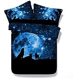 Sticker superb Wild Wolf Kopf Tier Bettbezug Set, 3D Polygonal Geometrie Wolf Bettwäsche Set, Modern Schlafzimmer Dekor Baumwolle Bettwäsche (Blau Galaxy Wolf, 135_x_200_cm)