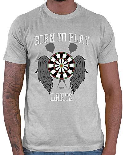 HARIZ  Herren T-Shirt Born to Play Darts Dart Sprüche Dartscheibe Weltmeisterschaft Inkl. Geschenk Karte Hell Grau XL