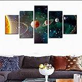 H.COZY 5pcs / Home Système solaire, planètes, Sciences de la terre par satellite Cosmos soie toile des affiches, science d'affiches enfants chambre décor (No Frame) far285 50 Pouces x30 Pouces...