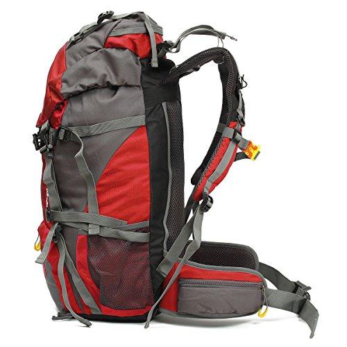 OUTERDO 50L Professionelle Erwachsene Trekkingrucksack Wanderrucksack Reiserucksack Rucksack Mit Regenabdeckung Für Outdoor Reisen Camping Bergsteiger 60 x 30 x 20 cm Rot