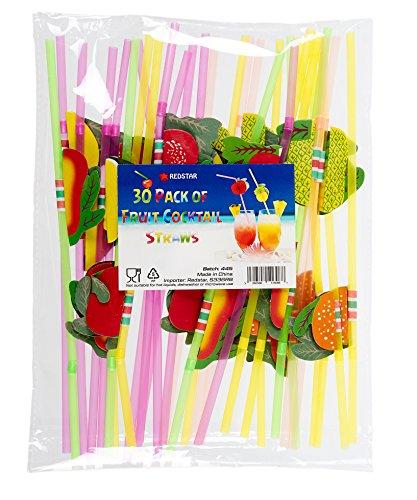 Redstar Fancy Dress - Cocktailstrohhalme mit 3D-Früchten - Partyzubehör - 30 Stück
