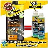 BARDAHL NETTOYANT INJECTEURS DIESEL 1L + 2 BARDAHL LAVE GLACE 250 ML OFFERT
