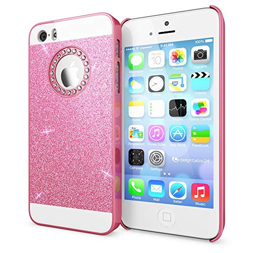 NALIA Handyhülle kompatibel mit iPhone SE 5 5S, Glitzer Slim Hard-Case Back-Cover Schutzhülle, Handy-Tasche im Glitter Design, Dünnes Bling Strass Etui Schale Smart-Phone Skin, Farbe:Pink