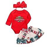 BulzEU Baby-Strampler mit Langen Ärmeln und Rock mit Schleife und Stirnband, für Weihnachten, Party, Fotozubehör, 3 Stück