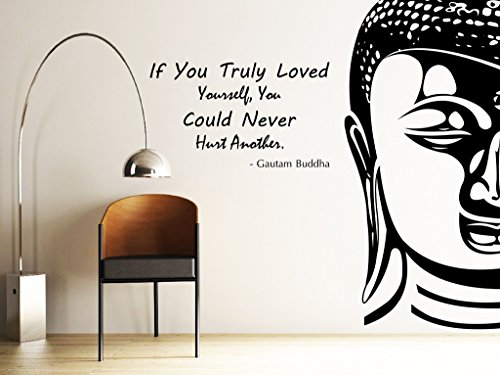 DECOR Kafe Decal Style Buddha Wall Sticker Wall poster (PVC vinyl, 81 X 68 CM)  available at amazon for Rs.299