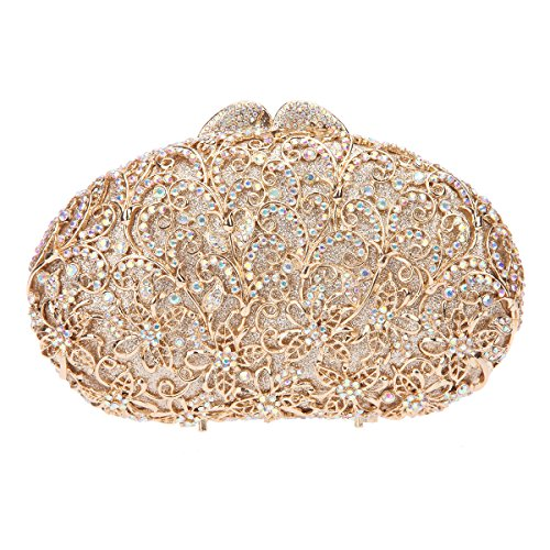 Bonjanvye Rhinestone Peacock Clutch Purses and Evening Bags for Women AB Gold AB Gold
