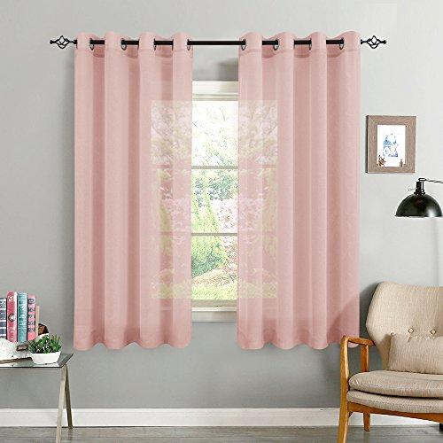TOPICK Rosa Kurze Gardinen Vorhang für Wohnzimmer transparent mit Ösen Ösenschal dekoschal Voile 145 x 140 cm (H x B) 2er Set