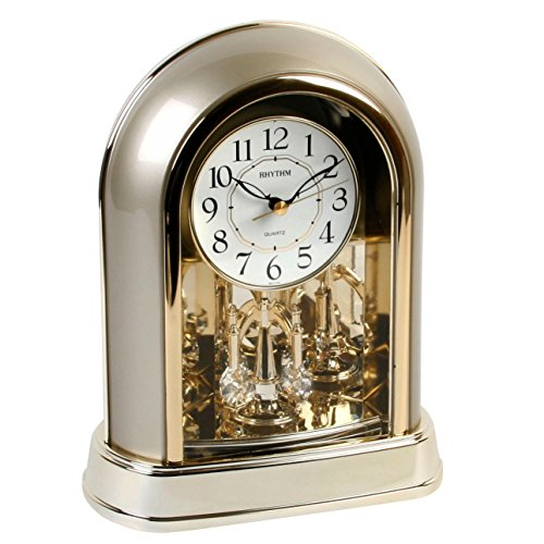 Rhythm two tone gilt mantel clock w swarovski pendolo