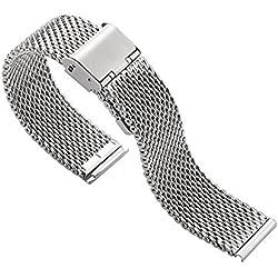 Blenheim London® Classic Mesh 20mm Stainless Steel Watch Silver