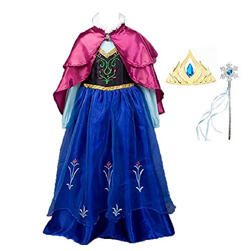 ERWAA Costume Principessa Carnevale Abito Bambini Vestito - Maniche Lunghe e Mantello Ricami Raffinati Cuciture (6 Ricamo)