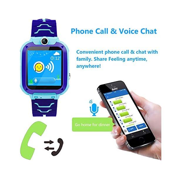 Smartwatch Niños IP67 Impermeable - AGPS LBS Tracker Localizador Reloj Inteligente Niños, Smartwatch Niña con Cámara SOS Chat de Voz Juego Alarma, Reloj Inteligente Niña Compatible con iOS Android 4