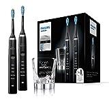 Philips Sonicare DiamondClean Neue Generation Elektrische Zahnbürste mit Schalltechnologie HX9357/87, Doppelpack, schwarz