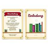20 x Einschulung Einladungskarten Einschulungskarten Schulanfang Set - Bücherregal