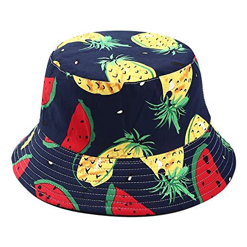SDGDFXCHN Two Side Reversible Fruit Eimer Hut für Männer Frauen Fischer Hut Panama Bob Hut Sommer Ananas, Kirsche, Zitrone, Banane -