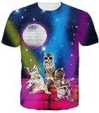 Idgreatim Frauen Halloween t Shirt Männer Universum Sternenhimmel Hawaii 3D Print Kurzarm Baum T-Shirts Casual Top Tees