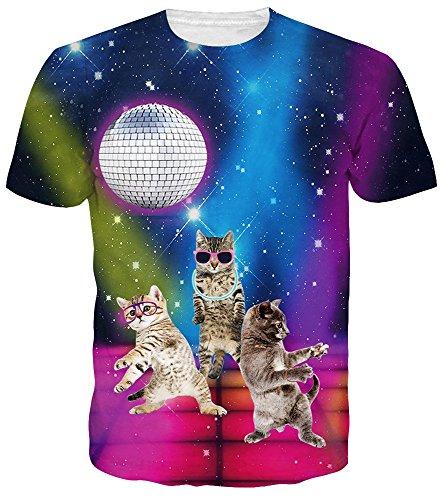 alloween t Shirts Universum Sternenhimmel 3D Print Regenbogen Katze Lässige T-Shirts ()