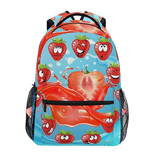 Kühler Erdbeersaft Schulter Student Rucksacks Bookbags Kinderrucksack Büchertasche Rucksäcke für Teen Mädchen Jungs