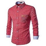 Binggong Herren Shirt,Herren Herbst und Winter lässig Mode Tasche Revers Plaid Langarm T-Shirt-Top