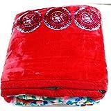 SABHARWAL HANDLOOM SIGNATURE BLANKETS Double Bed Mink Blanket (Red, 220x240 Cm)