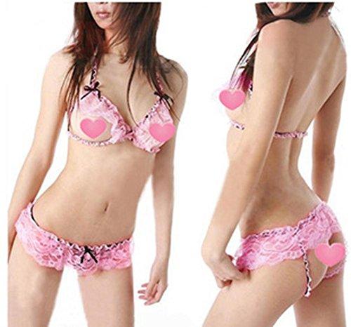 LIUYU Frauen-Reizvolle Wäsche / Kasten Der Geöffneten Akte Ein 3-Punkt-Spitze Unterwäsche Bh-Set Pink