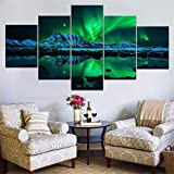 Mddrr Wall Art Poster Modern Home Decor Living Room 5 Pieces Northern Lights Over Snow Mountain Norway Landscape Canvas Painting Frame Posters