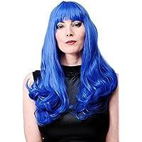 WIG ME UP ® - WIG021-BLUE Peluca larga azul mujeres flequillo disco modelo Katy