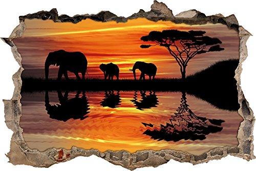 Pixxprint 3D_WD_5301_92x62 Afrika Elefant in Sonnenschein Wanddurchbruch 3D Wandtattoo, Vinyl, schwarz / weiß, 92 x 62...