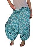 Induswelt Bunte Haremshose Aladin Hippie Hose Gemustert Baumwolle (Einheitsgröße Länge 105 cm, türkis/weiß)