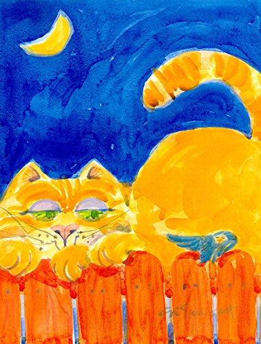 Caroline 's Treasures 6020CHF orange, Design Getigerte Katze auf dem Zaun Flagge Leinwand, groß, Multicolor