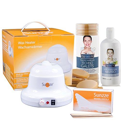 Sunzze Premium Waxingset für das Haareentfernen im Intim, Gesicht, Beine und Achselbereich wie die Profis. Wachserhitzer, Wachsscheiben Honig, Spatel und Lotion.