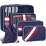 Kofferorganizer Kleidertaschen Set, YAMTION Packtaschen Packing Cubes Set, Packwürfel ideal für Koffer   5 teiliges Set (Blau)