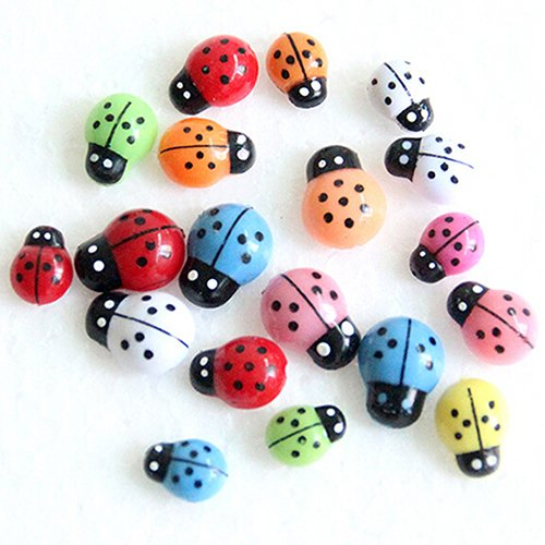 SWIDUUK 100 Pcs Coloré Mini 3D Stickers muraux Home Decor Kid Jouets DIY Coccinelle Coccinelle Décorations de Jardin extérieur Décor, Plastique, Coloré, Small