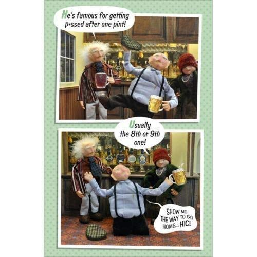 Funny He's famous for gettings one pint Birthday Card Humour Greeting Cards Constipation