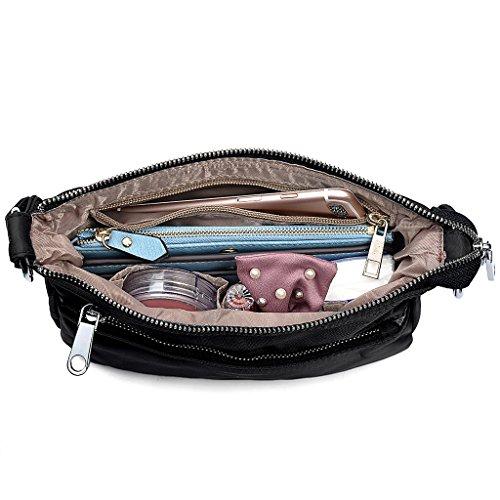 UTO Borsa a Tracolla Ultraleggera in nylon impermeabile convertibile crossbody borsa a spalla per iPad-Mini, Kindle e Compresse Nero Nero