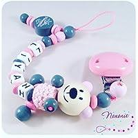 Schnullerkette 3D Teddy mit Namen, kleine Prinzessin, grau, babyrosa und rose