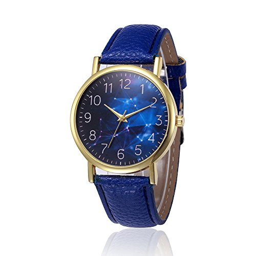 Frauen Armbanduhr, Kingwo Damen Mädchen Uhren Retro Design Lederband Analog Legierung Quarz Armbanduhr (L)