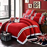 RESUXI Baumwolle im britischen Stil Reis Flagge Bettbezug, Baumwolle Bettlaken Double Flat, Single Bettbezug, King Size Bettbezug@M_1.8m Bett (4 Stück)