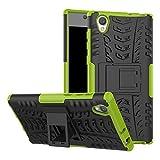 GOGME Sony Xperia L1 Hülle, Rugged TPU/PC Hybrid Armor Schutzhülle. Anti-Scratch PC Rückwand Schale + Stoßfeste TPU Innenschutzabdeckung + Faltbarer Halterungen, Green