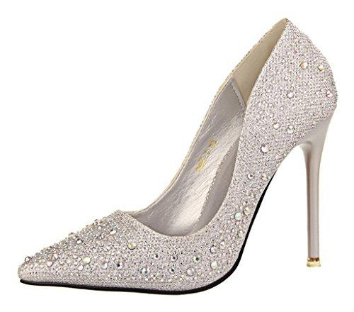Minetom donna pointed toe scarpe strass stiletto shoes scarpe col tacco da sposa lucide scarpe con tacco scarpe argento eu 38
