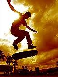 Postereck - 0172 - Skateboard Sprung, Sepia - Poster 4:3-81.0 cm x 61.0 cm