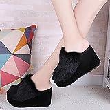SEX Pantofole da donna Piattaforma peluche Scarpe col tacco alto autunno / inverno Scarpe da casa, nere , 38