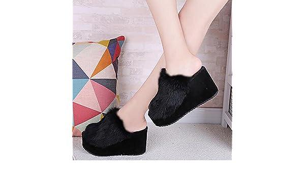 SEX Pantofole da donna Piattaforma peluche Scarpe col tacco alto autunno   inverno  Scarpe da casa 28768b12bd9