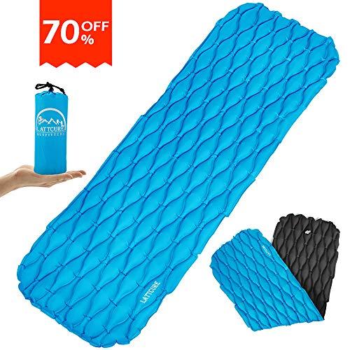 LATTCURE Camping Isomatte, doppelte Farbe ultraleichte Isomatte Kleines Packmaß Aufblasbare Schlafmatte Luftmatratze für Camping, Reise, Outdoor, Wandern, Strand (Blau+Schwarz)