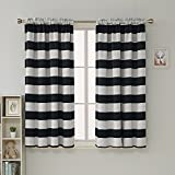 Deconovo Striped Blackout Curtains Rod Pocket Black and Greyish White Striped Curtains