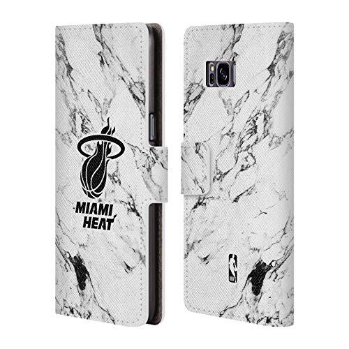 Offizielle NBA Marmor Weiss 2018/19 Miami Heat Brieftasche Handyhülle aus Leder für Samsung Galaxy S8 Miami Heat Cellular Phone Case