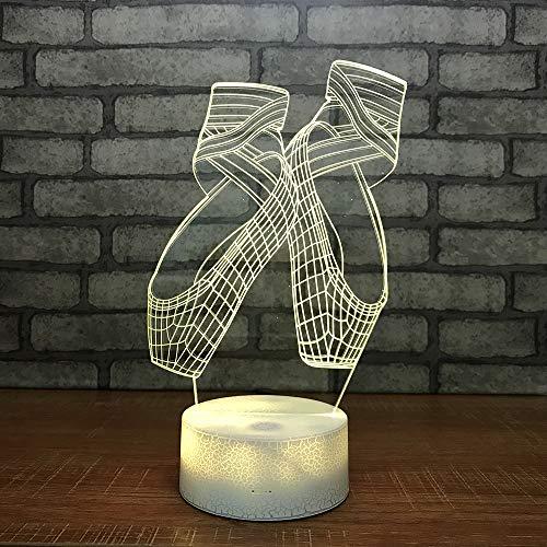 3D Optisches Nachtlicht Nachttischlampe Für Kinder LED Tischleuchte Dekoratives Licht 7 Farben Andern Touch Switch Acryl USB Batterie Crack Basis Ballet Shoes Fernbedienung - Über Ballet Shoes