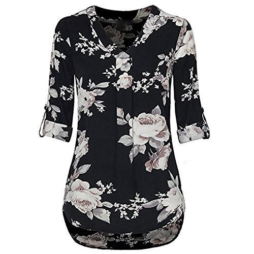JYJMWomens 3/4 Cuffed Sleeve Chiffon Floral V-Ausschnitt Casual Bluse Shirt Tops Langarm Halbarm Top Schulterfrei Weiches Material Ladies Sommer Elegant Chic Oberteil Locker T-Shirt (L, Schwarz) - 3/4 Sleeve Floral Shirt